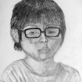 自画像デッサン(小4)