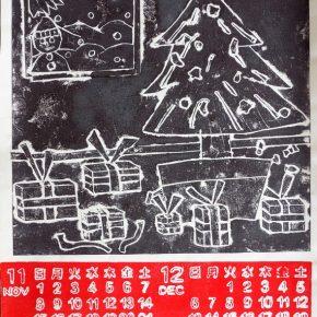 紙版画カレンダー(土曜クラス・小5)