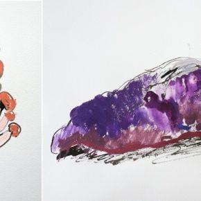 野菜のスケッチ/割ばしペンと絵の具4色のみ使用(土曜クラス・小3)