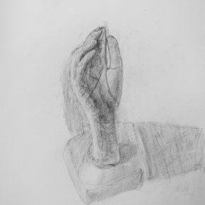 鉛筆デッサン(自分の手の石膏像・小4)