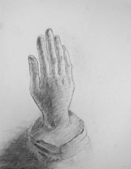 鉛筆デッサン(自分の手の石膏像・小5)
