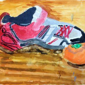 靴の水彩画(小4)