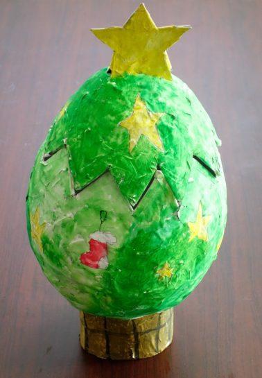 風船張り子・クリスマスツリーの小物入れ(小3)