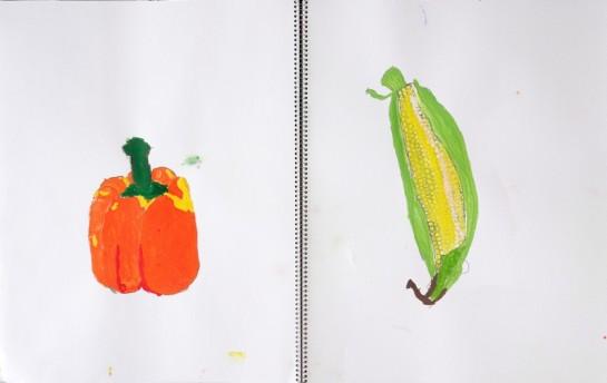 野菜のスケッチ/割ばしペンと絵の具4色のみ使用(小3)