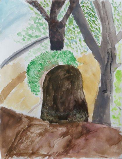 風景画「緑の中の石」(小4)