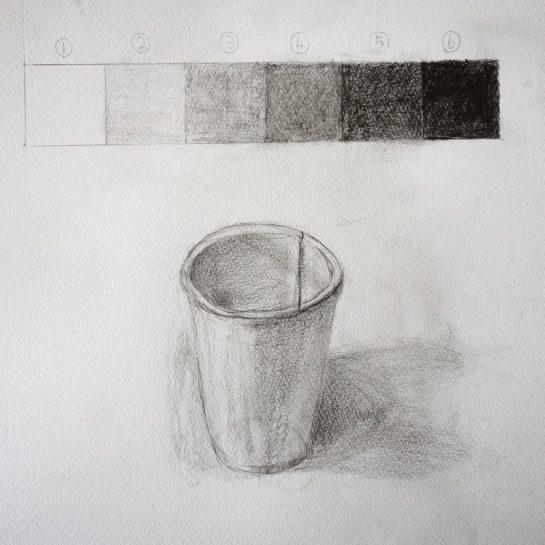 鉛筆デッサン/紙コップとグラデーション(小3)