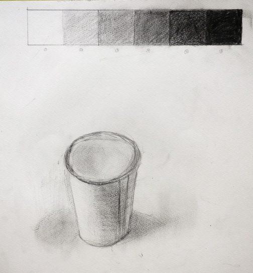 鉛筆デッサン・紙コップとグラデーション(小3)