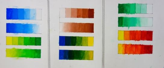 絵具でのグラデーション練習(明度と色相)