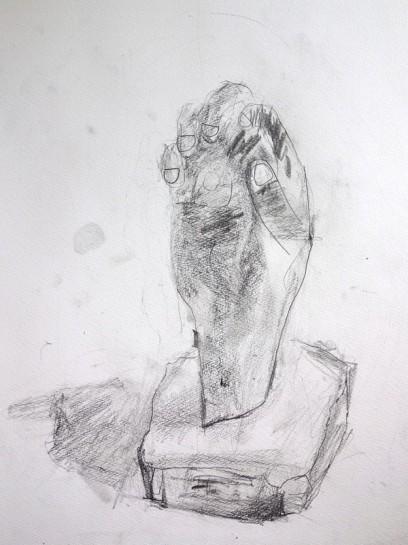 鉛筆デッサン(自分の手の石膏像・小2)