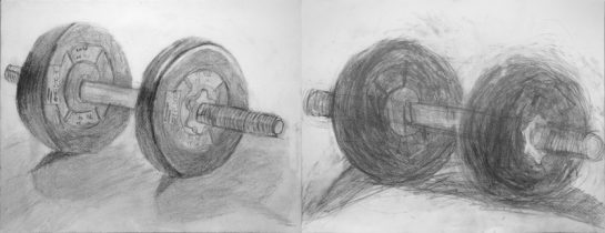 鉛筆デッサン/ダンベル(小5、小3)