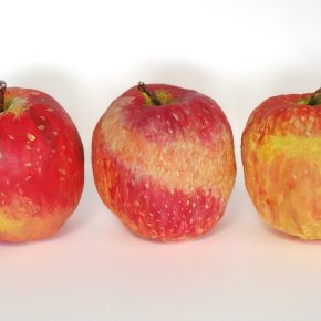 完成「リンゴの模刻」(日曜午後クラス・左から小4、4、3)