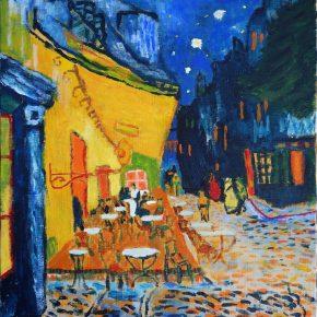 ゴッホ「夜のカフェテラス」(小5)