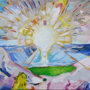 ムンク「フィヨルドに昇る太陽」(小6)