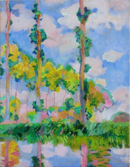 モネ「陽を浴びるポプラ並木」