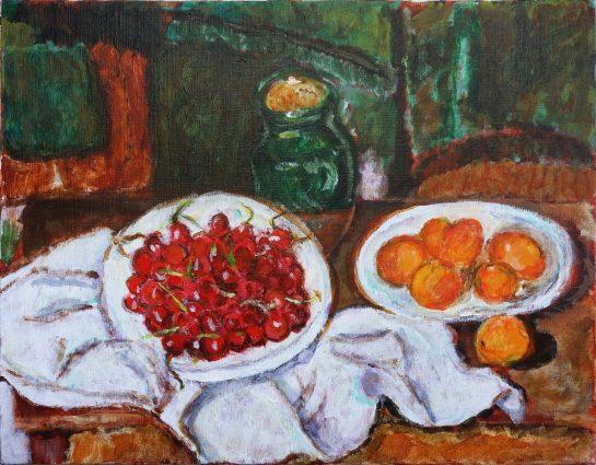 セザンヌ「さくらんぼと桃の皿」