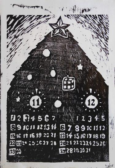 木版画カレンダー(中1)