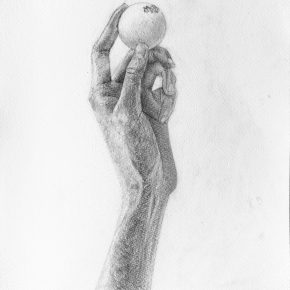 手とピンポン球のデッサン(小5)
