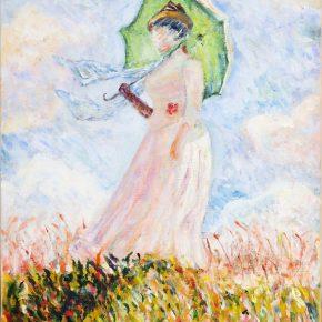模写・モネ「日傘をさす婦人」(小6)