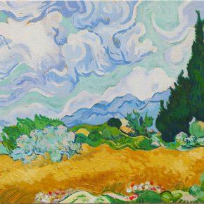 模写・ゴッホ「黄色い麦畑と糸杉」(中1)