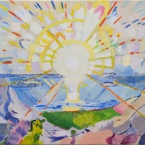 模写・ムンク「フィヨルドに昇る太陽」(小6)