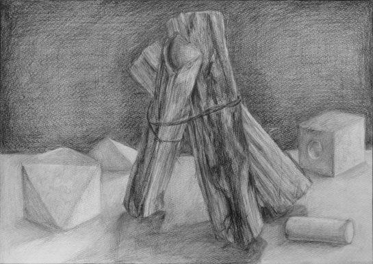 構成デッサン・薪と立方体(小6)