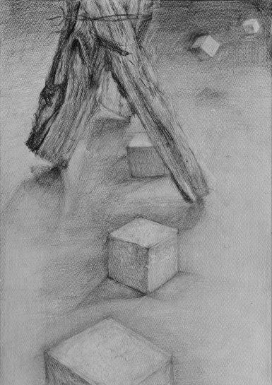 構成デッサン・薪と立方体(中2)